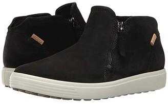 Ecco Soft 7 Low Cut Zip Bootie (Black/Powder) Women's Shoes