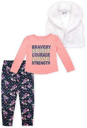 Aeropostale p.s. from Girls' Outerwear Vests CORLT - Coral 'Bravery' Long-Sleeve Tee Set - Girls