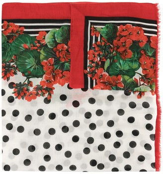 Dolce & Gabbana Floral Dotted Scarf