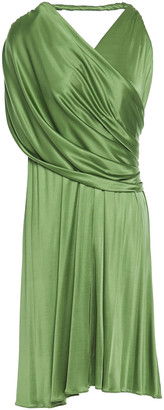 Lanvin One-shoulder Draped Satin-jersey Mini Dress