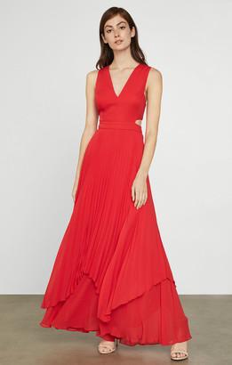 BCBGMAXAZRIA Pleated Satin Cutout Gown