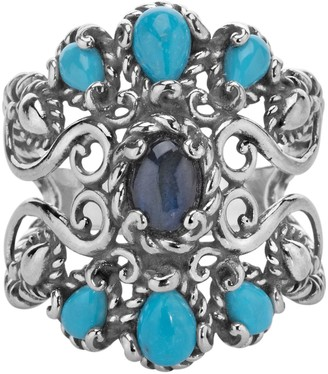 Carolyn Pollack Sterling Labradorite and Turquoise Ring