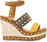 Lanvin Studded Suede Wedge Sandals
