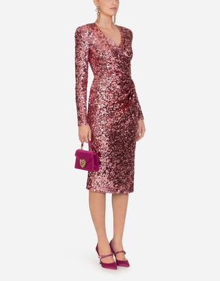 Dolce & Gabbana Sequined Crossed Longuette Dress