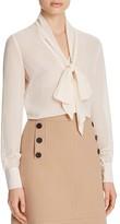 Karen Millen Tie Neck Devoré Blouse - 100% Bloomingdale's Exclusive