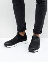 Armani Jeans Elastic Runner Sneakers In Black
