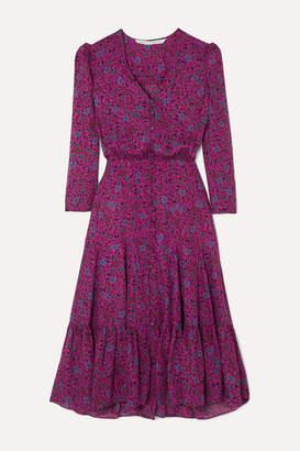 Veronica Beard Lasanna Tiered Floral-print Silk Crepe De Chine Midi Dress - Purple