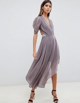 Asos Design DESIGN floaty soft midi dress with back pearl detail-Multi