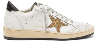 Golden Goose Ball Star Glitter-applique Leather Trainers - Womens - White Gold
