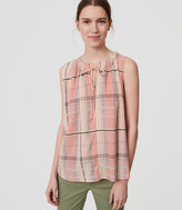 LOFT Plaid Tie Neck Shell