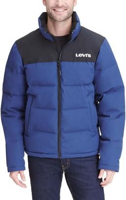Levi's Levis Men's Arctic Cloth Stand Collar Logo Puffer Jacket