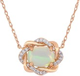 Stella Grace 10k Rose Gold 1/10 Carat T.W. Diamond & Ethiopian Opal Love Knot Necklace