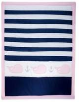 Nautica Mix & Match Striped Whale Comforter in Navy/Pink
