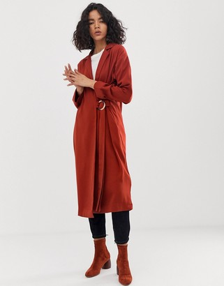 Asos Design DESIGN duster coat with faux shell trim detail-Red