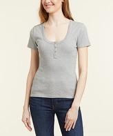 Frye Women's Tee Shirts HEATHER - Heather Gray Knit Short-Sleeve Henley - Women