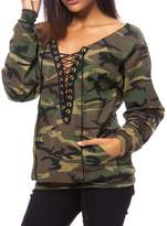 Dasbayla Lady Camouflage Printed Pullover V-neck Lace Up Sweatshirt with Belly Pockets