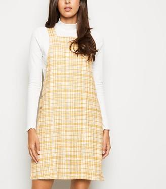 New Look Textured Check Pinafore Dress
