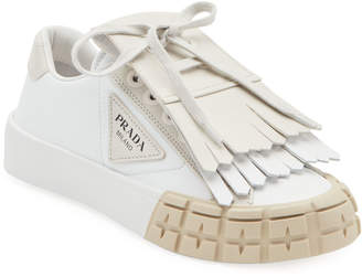 Prada Leather Sneakers with Removable Kiltie