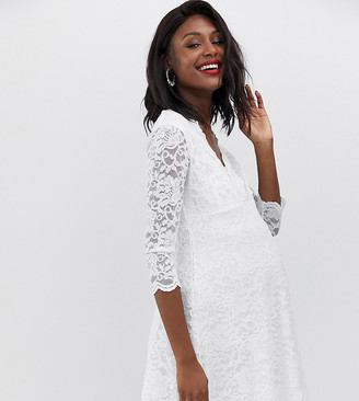 Flounce London Maternity lace dress with 3/4 sleeve in white