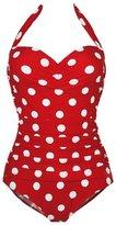 Deercon Women Plus Size One Piece Halter Swimwear( XL)