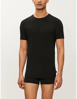Derek Rose Mens Black Alex Modal T-Shirt, Size: XXL