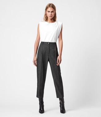 AllSaints Mara Puppytooth High-Rise Straight Pants