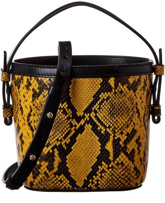 Nico Giani Adenia Mini Snake-Embossed Leather Bucket Bag