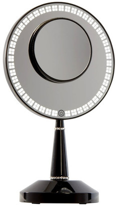Impressions Vanity Bijou LED Makeup Mirror w/ Charging Stand & LED Lights, Glossy Black