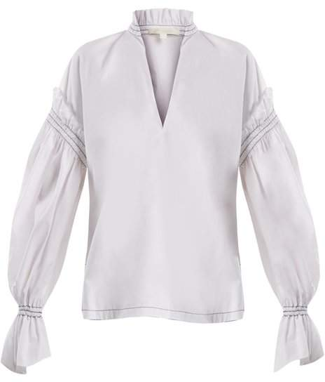 Jonathan Simkhai Ruffled Collar Cotton Poplin Blouse - Womens - White