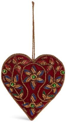 Harrods Beaded Velvet Heart Tree Decoration