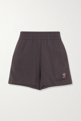 adidas Metallic-striped French Cotton-terry Shorts - Charcoal