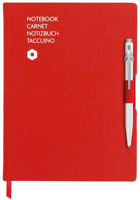 Caran d'Ache A5 Red Notebook with White 849 Ballpoint Pen