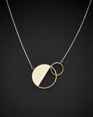 Italian Gold 14K Double Circle Geometric Necklace