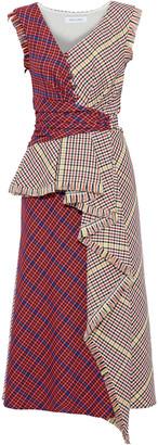 Prabal Gurung Shar Button-detailed Checked Woven Midi Dress