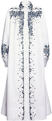 Valentino Beaded Cotton Poplin Shirt Dress