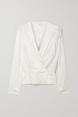 Anine Bing Helena Christensen June Silk-blend Satin-jacquard Wrap Top - Ivory