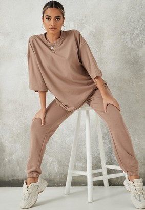Missguided Stone Oversized T Shirt And Joggers Co Ord Set