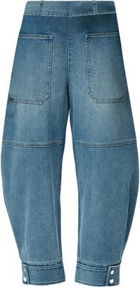 Tibi Sculpted Mid-Rise Tapered-Leg Denim Pants