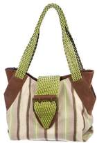 Carlos Falchi Leather-Trimmed Canvas Tote