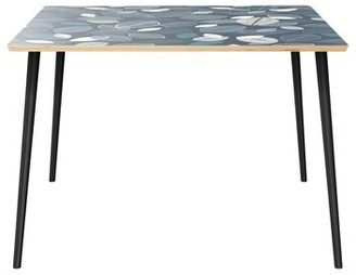 """Wrought Studioâ""""¢ Cobbs Dining Table Wrought Studioa Table Top Boarder Color: Natural, Table Base Color: Black, Table Top Color: Blue"""