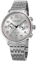 Akribos XXIV Men's White Dual Time Zone Sub dials with Silver-Tone Case and Silver-Tone Stainless Steel Bracelet Watch AK942SS