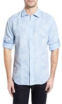 Bugatchi Men's Shaped Fit Frond Print Sport Shirt