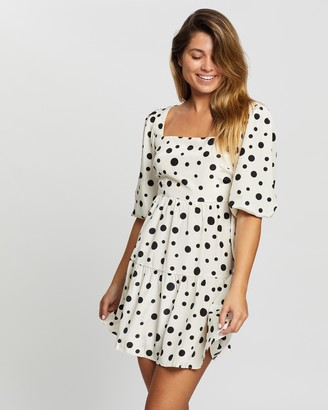 Glamorous Square Neck Polka-Dot Dress