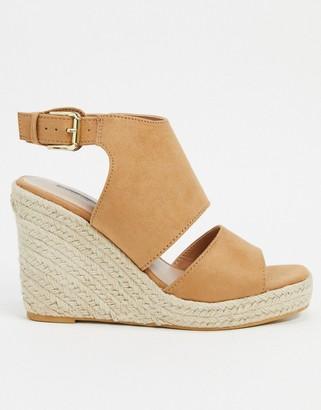 Miss Selfridge wedge sandals in tan
