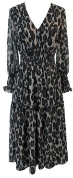 Taylor Plus Size Animal-Print Smocked-Chiffon A-Line Dress