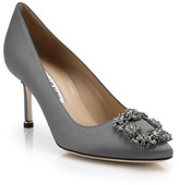 Manolo Blahnik Hangisi 70 Embellished Satin Pumps