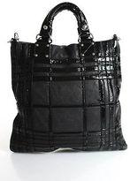 Badgley Mischka Black Leather Patent Leather Contrast Tote Satchel Handbag