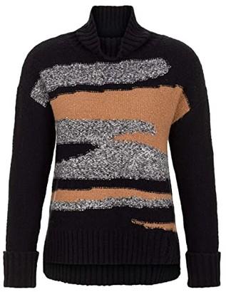 Tribal Long Sleeve Camo Intarsia Sweater (Black) Women's Sweater