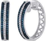 JCPenney FINE JEWELRY 1/2 CT. T.W. White and Color-Enhanced Blue Diamond Sterling Silver Hoop Earrings