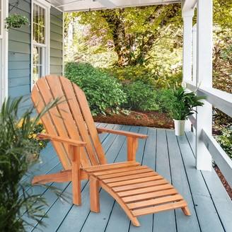 Chic Teak Adirondack Teak Wood Chair with Footstool